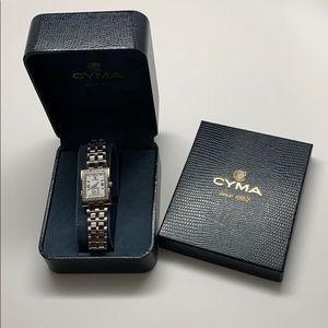 Cyma ladies diamond and stainless watch.